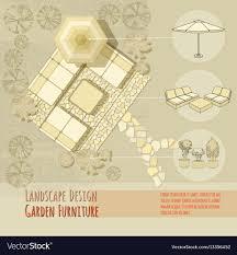 Garden Design Lounge Chairs Umbrella Top View Vector Image