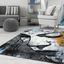 kunstvoller webteppich frauen gesicht grau blau gelb cc059 vimoda homestyle