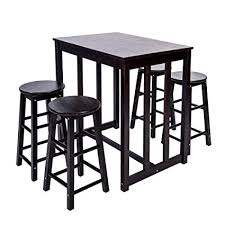 Merax 5 Piece Dining Table Set High Pub With 4 Bar Stools