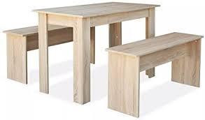 vidaxl essgruppe 3 tlg spanplatte eiche tisch bänke