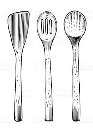 Fork spoon illustration drawing engraving line art wood royalty free