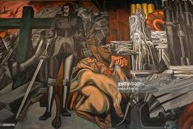 a detail from jose clemente orozco s mural the epic of american