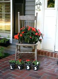 Flower Pots Ideas For Front Porch Awesome Design With Reclaimed Rustic Wood Chair