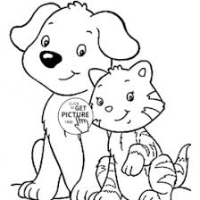 Cat And Dog Coloring Page For Kids Animal Pages