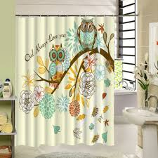 White Owl Bathroom Accessories by Cute Owl Designer Shower Curtains With White Flowers For Cool