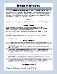 Construction Manager Resume Sample Monster Com Samples Printable