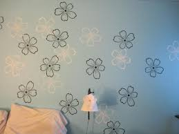 Modest Ideas Flower Wall Painting Paint Stencils With Beautiful