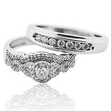 Trio Wedding Ring Set in White Gold Real Diamonds 0 6ct Bride