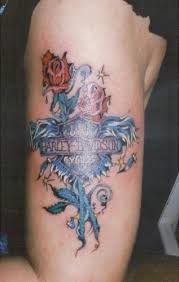Harley Davidson With Roses Biker Tattoo