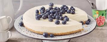 skyr cheese cake mit sanddorn und heidelbeeren