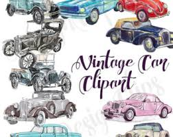 Vintage Car Clipart Clip Art Watercolor Illustration Planner Cover Blog Theme Graphics Old