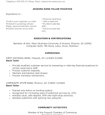 Bank Teller Resume Examples For Position Inspiration Sample Job Application