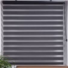 Shop Upscale Designs Sheer Grey Striped Roller Blind Free Shipping