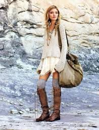 Women Fashion Trends With Boots Sweater Dress Knee Shock Vintage