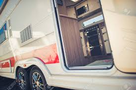 100 Modern Travel Trailer Camping Concept RVing In Style Stock Photo