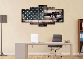Rustic American Flag With Soldiers 1