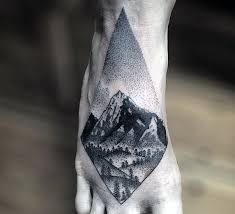 Geometric Nature Scene Black Ink Forest On Foot Male