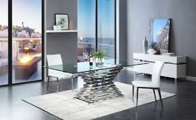 100 Living Room Table Modern Modrest Crawford Rectangular Glass Dining
