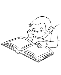 Curious George Coloring Pages Reading Book