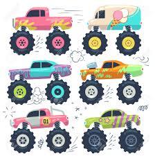 100 Kids Monster Trucks Trucks Car Toys Cartoon Vector Set