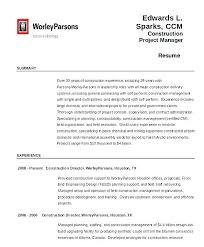 Sample Resume Construction Project Manager Electrical