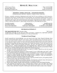 Sample Resume For President General Manager