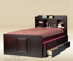 black wood full size bed with trundle and 3 drawers frame also