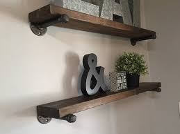 Industrial Galvanized Pipe Shelf Rustic Wood Floating