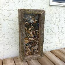 Barn Board River Rocks Marbles Framed Display Case