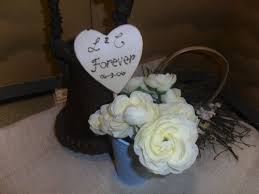 Rustic Heart Wedding Cake Topper Engraved Initials Personalized