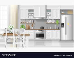 Interior Design Modern Kitchen Background 5 Stock Vektor Interior Kitchen Background In Modern Rustic Style