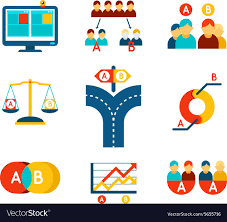 100 Ab Flat AB Testing Icons Set In Flat Design Style Vector Image