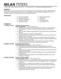 Best Sales Customer Service Advisor Resume Example