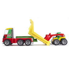 100 Bruder Tow Truck Toys ROADMAX Construction Transporter With Skid Steer