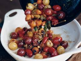cuisine cherry skillet charred cherry tomatoes with basil recipe chris