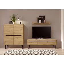 wohnzimmer set in eiche artisan mit schwarz tirol 61 skandinavisches design mit couchtisch und sideboard