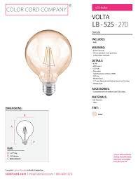 volta led bulb clear color cord company