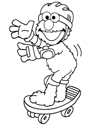 Elmo On Skateboard Coloring Page