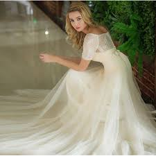 Inexpensive Short Lace Sleeves Country Wedding Dress In Champagne