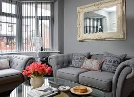 Grey Traditional Living Room With Vertical Blinds