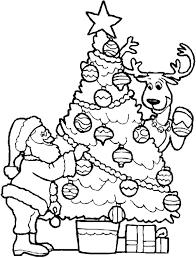 Detail Christmas Tree And Santa Coloring Page