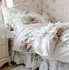 FADFAY Home TextileNew European Vintage Floral Rose Bedding SetShabby Country Style SetWhite Lace Ruffle Sets For More Information