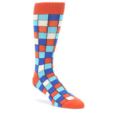 sunset orange blue checkered men u0027s dress socks u2013 boldsocks