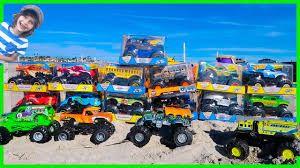 100 Monster Jam Toy Truck Videos EPiC Arena At The Beach Unboxing 13 New