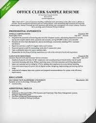 Office Clerk Resume Professional