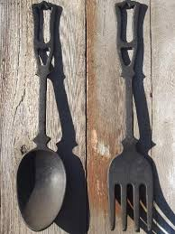 Fork And Spoon Wall Art Pleasing Large Vintage Kitchen Black Cast