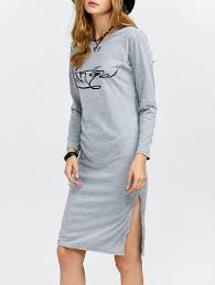 long sleeve dresses gray xl casual round collar long sleeve