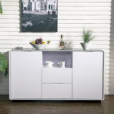 Buffet Sideboard White Gloss Black Glass Modern Buffet