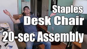 Hyken Mesh Chair Manual by Staples Desk Chair Assembled In 20 Seconds Youtube