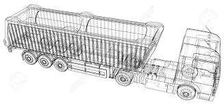 Commercial Wire-frame Delivery Cargo Truck Vector For Brand Identity ...